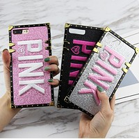 Victoria's Secret Pink Flash Pink iphone 6 6s 7 7plus 8 X iPhone Embroidery Shiny Phone Case I12405-1