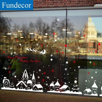[Fundecor] diy white snow town christmas wall stickers window glass festival decals murals Christmas Decorations for Home decor