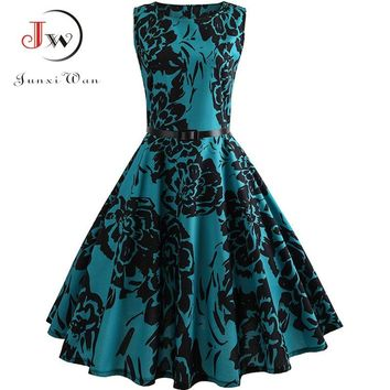 Floral Print Summer Dress Women Vintage Elegant Swing Rockabilly Party Dresses Plus Size Casual Midi Tunic Runway Dress