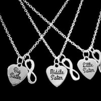 Big Sister Middle Sister Little Sister Heart Sisters Infinity Gift Necklace Set