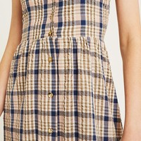 UO Freida Check Button-Through Midi Dress | Urban Outfitters