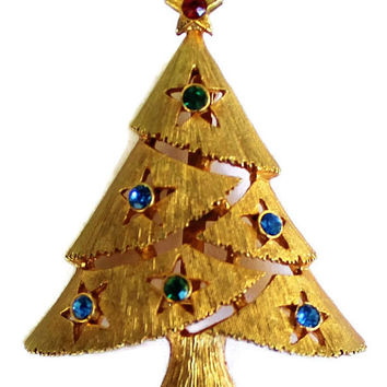 Vintage Christmas Tree Brooch With Blue And Green Rhinestones In Gold Tone Christmas Brooch Holiday Brooch
