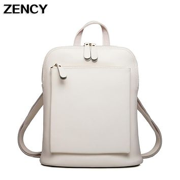 ZENCY Famous Luxury Brand Genuine Oil Wax Cowhide Second Layer Cow Leather Women Girls Real Leather School Backpack Shoulder Bag