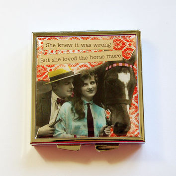 Funny Pill Box, Square Pill case, pill case, Funny Pill Case, sassy women, 4 Sections, Square Pill box, Horse Lover, funny women (4345)