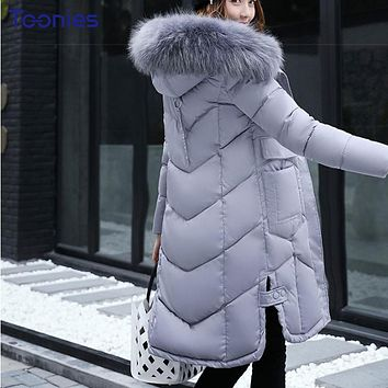 Abrigos Mujer Invierno 2017 Korean Style Long Winter Jacket Women Fur Hooded Parka Winter Coat Woman Thick Warm Chaqueta Mujer
