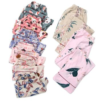 Summer cool rayon Floral sleep bottoms women plus size soft loose pajamas indoor pants women fresh home trousers casual pants