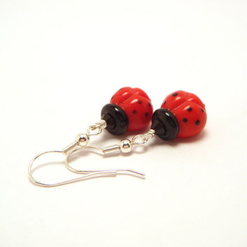 Ladybug Earrings - Ladybird Lampwork Earrings, Insect Jewelry - 'Ladybugs'