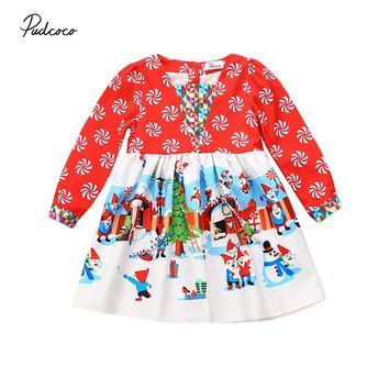 Toddler Baby Infant Girls Dress Clothes Kids Children Santa Snowman Christmas Xmas Long Sleeve Red Autumn Dresses Girl Clothing