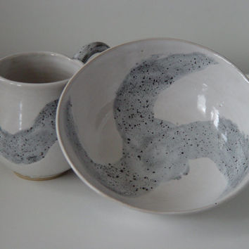 Breakfast Set: Large Handled 16 ounce oz pottery coffee mug and cereal bowl, Gray & White, Wheel Thrown Pottery stoneware