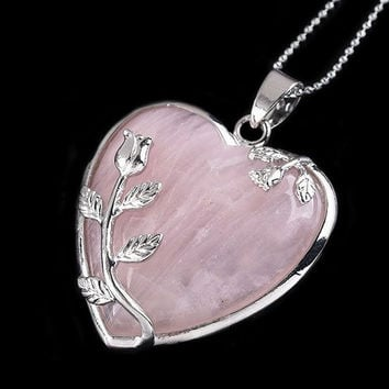 Fashion Rose Quartz Alloy Flower Necklace Pendant Heart Inlaid Charm Jewelry