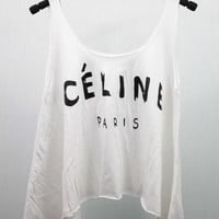 CELINE Paris Tank Top Midriff Crop Top women handmade silk screen printing
