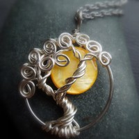 Full Yellow Moon caught in a Tree Sterling Silver necklace