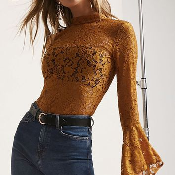 Lace Mock Neck Bodysuit