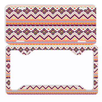 Aztec Tribal Orange Red License Plate Frame Car Tag