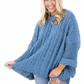 Women's Cuffed 3/4 Sleeve Chenille Cable Knit Sweater