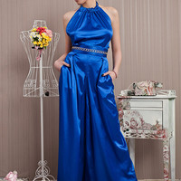 Blue Long Satin Jumpsuit/Chain Detail Loose Elegant Jumpsuit/Official Party Open Back Suit/Formal Bridesmaid Blue Jumpsuit/Wide Leg Jumpsuit