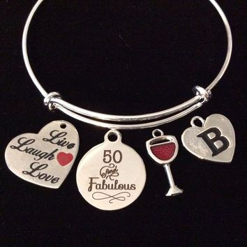 Live Love Laugh 50 and Fabulous Fifty Happy Birthday Expandable Charm Bracelet Silver Adjustable Wire Bangle One Size Fits All Gift