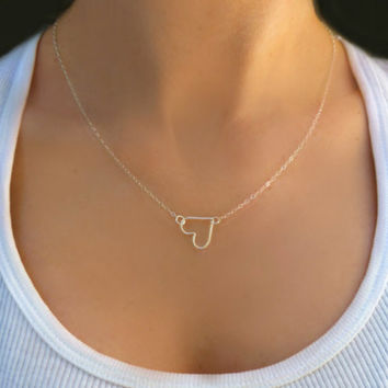 Tiny Heart  Necklace -  Heart Pendant Necklace - Sideways Heart Necklace - Sterling Silver Heart Necklace - Delicate Petite Necklace Gift