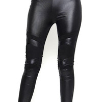 Edward Scissorhands Black Faux Leather Rhinestones Leggings Pants