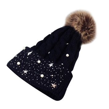 Fashion Women Faux Fur Ball Rivet Winter Warm Crochet Knitted Hat Cap Beanie