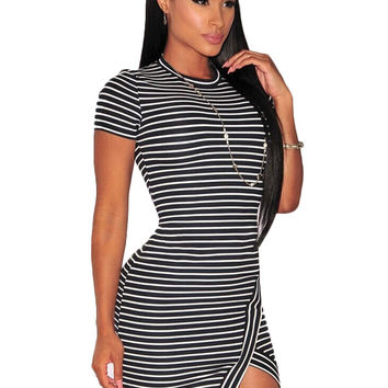 Dress  Striped Bodycon Micro Ladies Micro Mini Dress Elegant Pencil Dress Casual Short Formal Dresses For Party SM6