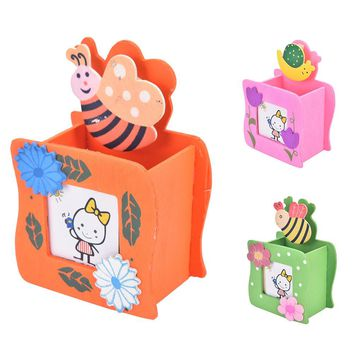 Cute Cartoon Mini Wood Pencil Holder Wooden Pen Container With Message Folder 2017 Kawaii Promotional Products Gift