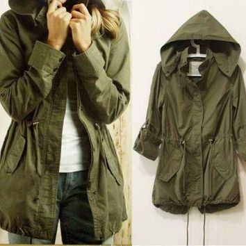 Womens Hoodie Drawstring Army Green Military Parka Jacket Coat S-XL NEW