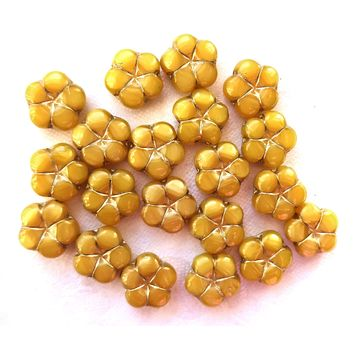 Lot of ten14mm table cut, carved,opaque, marbled mustard yellow with gold accents, Czech glass flower beads C05101