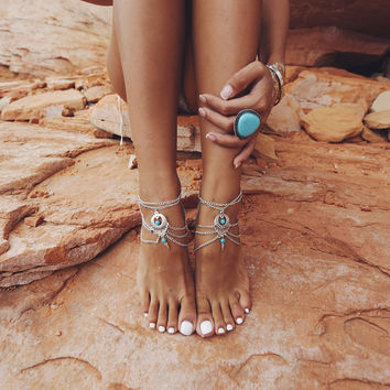 2PCS Beaded Chain Turquoise Anklet. Beach Wedding Foot Jewelry.Chain Barefoot Sandals Set, Beach Body Chain, Bohemian, Boho