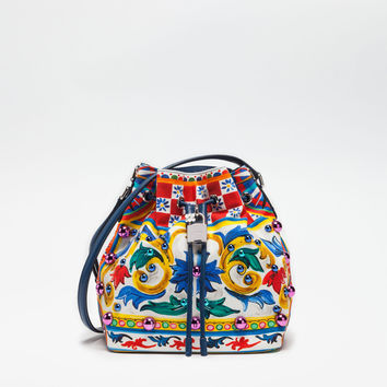 Women's crossbody bags and shoulder bags | Dolce&Gabbana - DOLCE BOX BUCKET BAG IN PRINTED CANVAS