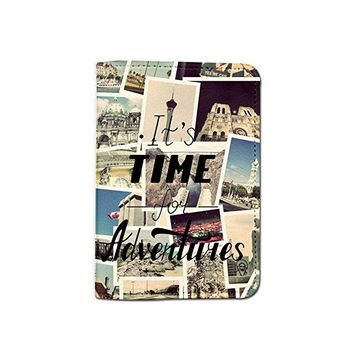Time For Adventure Begins World Travel Passport Holder Customized Passport Covers Passport Wallet_Emerishop (PPLA41)