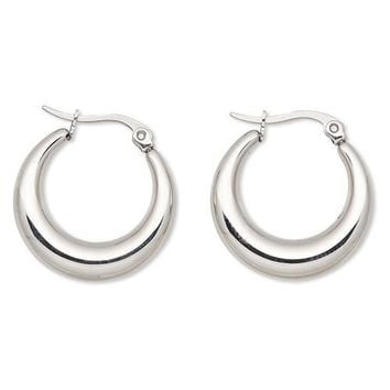 Sleek Surgical Stainless Steel Puffed Hoop Silver Hypo Allergenic 22mm Earrings