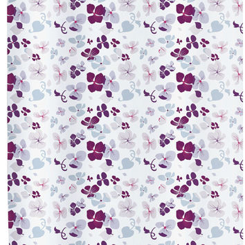 """BenandJonah Collection Fabric Shower Curtain 70 x 72"""" Flower Party"""