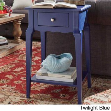 End Table With Storage Coffee Wood Blue Night Accent HomeModern Furniture