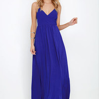 On the Silver Screen Royal Blue Maxi Dress