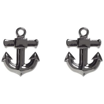 """Anchor"" Post Earrings by Sourpuss Clothing (Silver)"