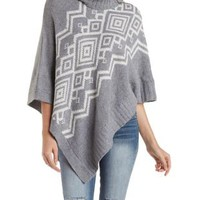Asymmetrical Geometric Print Turtleneck Poncho