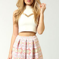 Naomi Flocked Aztec Skater Skirt