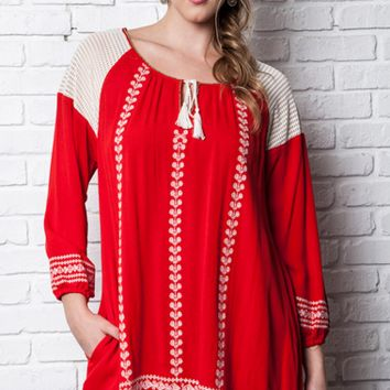 UMGEE CRIMSON EMBROIDERED TUNIC DRESS TOP *NEW* CONTEMPORARY PLUS XL 1XL 2XL