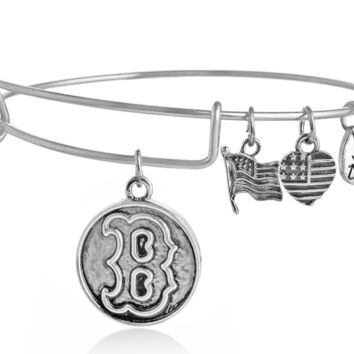 "Alex and Ani style letter ""B"" pendant charm bracelet,a perfect gift !"
