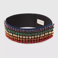 GUCCI Women Fashion Rainbow crystals headband G