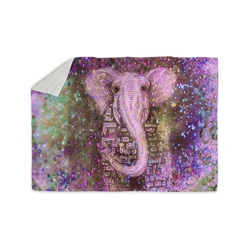"Marianna Tankelevich ""Pink Dust Magic"" Elephant Sparkle Sherpa Blanket"