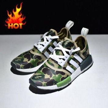 CREYNW6 Sale Bape x Adidas NMD Green Camo Army Bathing Ape Nomad Runner Boost Sport Running Shoes - BA7326