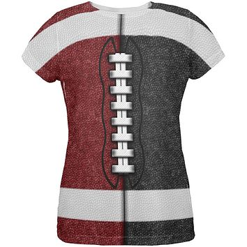 Fantasy Football Team Maroon and Black All Over Womens T Shirt