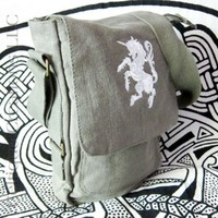 Unicorn Padded Tech Bag Green Cotton Canvas Verticle Tablet Messenger