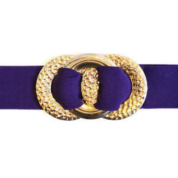 1980's Wide Elastic Belt With Large Gold Triple Circle Buckle, 1980's Wide Belt, Large Buckle Belt, Purple Belt