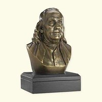 6-inch Ben Franklin Bronze Bust Statue - Founding Father - Great Gift