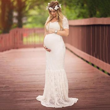 2018 Women Dress Maternity Photography Props Lace Pregnancy Clothes Maternity Dresses For Pregnant Photo Shoot Cloth