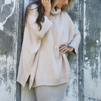 Sweet Memory Taupe Oversized Turtleneck Sweater With Side Slits