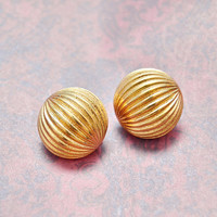 Vintage Gold Tone Textured Dome, Circle Round Clip On Non Pierce Earrings, Monet, Womens Estate Jewelry, Wife Girlfriend Mom Sister Gift Her